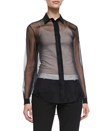 Jin Sheer Long Sleeve Blouse, Black