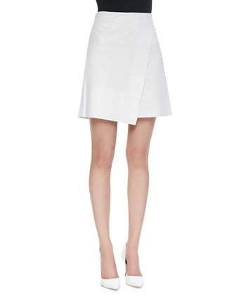 Liz Leather Asymmetric Skirt, White