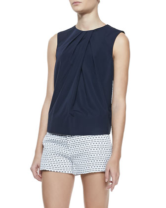 Lilly Sleeveless Pleated Front Top, Navy