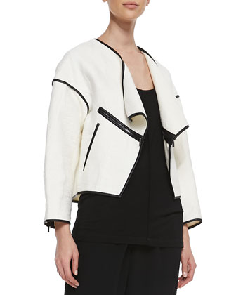 Faux-Leather Trim Open Jacket