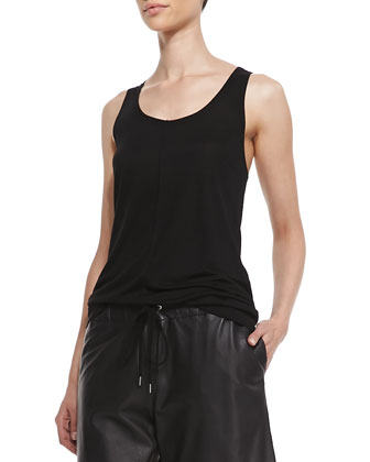 Slub Knit Tank, Black