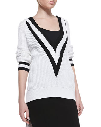 Talia Plunging V-Neck Ribbed Sweater