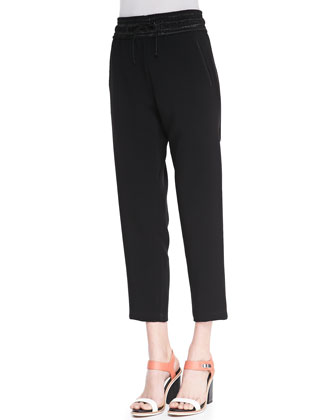 Drawstring Crepe Easy Pants
