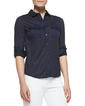 Tinley Long-Sleeve Button-Down Shirt, Navy