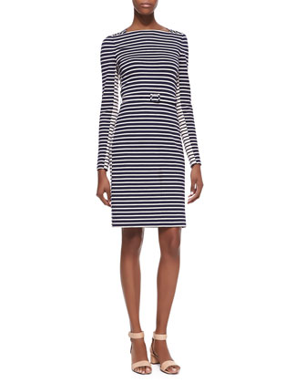 Callan Belted Striped Long-Sleeve Dress