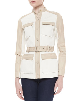 Tenley Two-Tone Belted Jacket