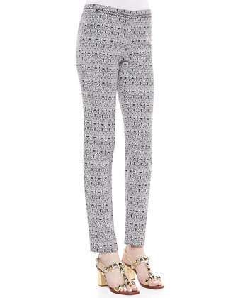 Heidi Slim Fit Print Pants, Carinthia Navy/White