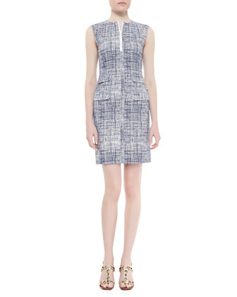 Kinsley Tweed-Print Sheath Dress