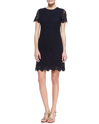 Trixy Crochet Lace Dress, Medium Navy