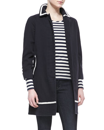 Zeta Twill 3/4-Sleeve Coat & Pam Stripe-Jersey Long-Sleeve Tee & Stick Denim Skinny Jeans, ...