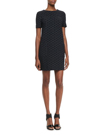 Leyna Dotted Ponte Dress, Black