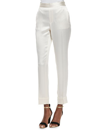 Julee Shiny Silk Crepe Pants