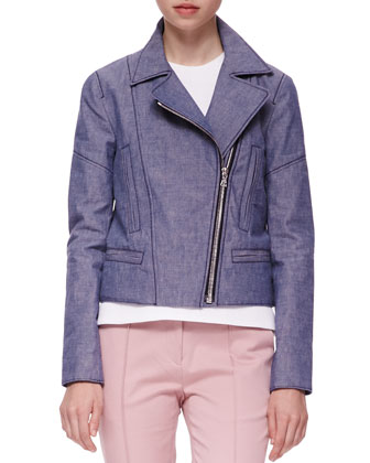 Twill Biker Jacket, Sleeveless Top & Seamed Cropped Chinos