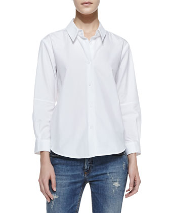 Basic Long-Sleeve Cotton Blouse