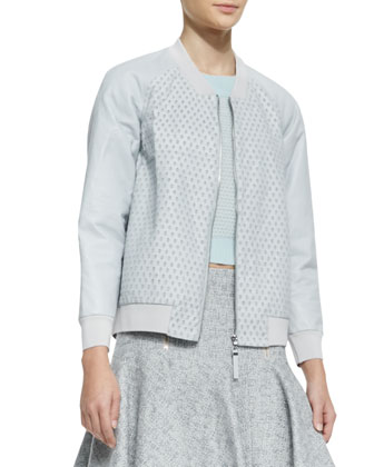 Perforated Leather/Knit Zip Jacket, Cashmere Textured Cropped Sweater & Tweed Zip-Front Flounce ...