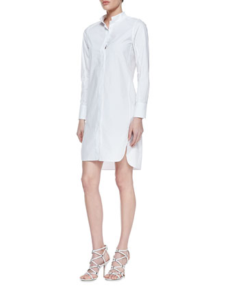 Leather-Front Ruffled Jacket & Long-Sleeve Cotton Poplin Shirtdress