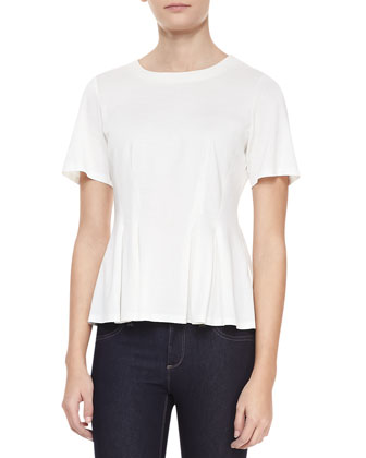 Mercerized Short-Sleeve Pleated Top, Chalk