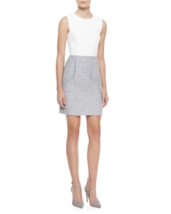 Sleeveless Leather & Tweed Dress, White/Shark Gray