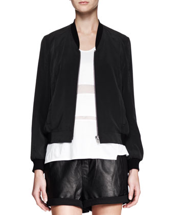 Terra Zip Bomber Jacket, Horizon Striped Jersey Tank & Combo Leather Drawstring Shorts