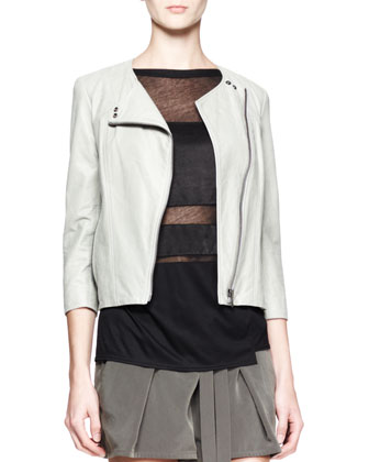 Oxum Collarless Leather Jacket