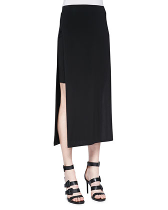 Faint High-Slit Midi Skirt