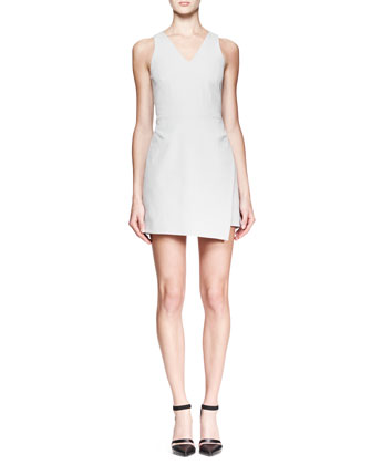 Twill Back-Zip A-Line Dress