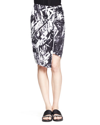Lush Twist-Neck Top and Meteor Printed Asymmetric Skirt