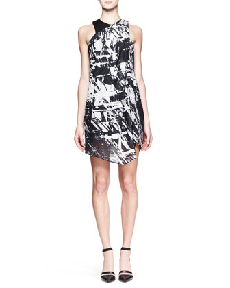 Meteor Printed Gather-Neck Dress