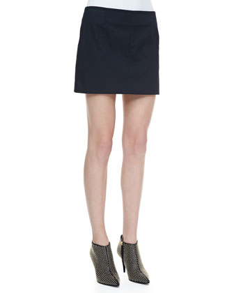 Keeta Stretch-Cotton Miniskirt, Black