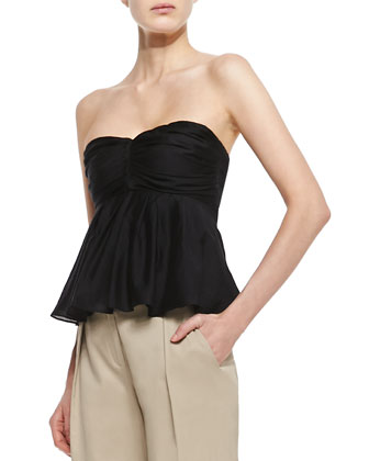 Pleated Strapless Top, Black