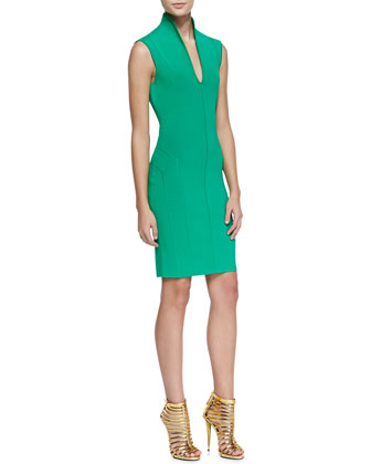 Sleeveless Fitted High-Collar Dress