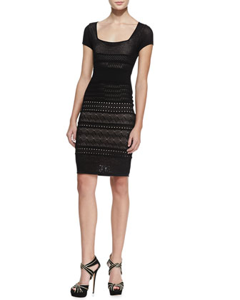 Cheryl Pointelle Shift Dress, Black