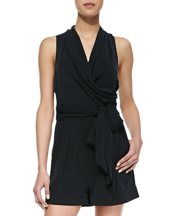 Favorites Wrapped Stretch-Silk Jumpsuit