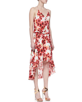 Floral-Print High-Low Tie-Waist Dress