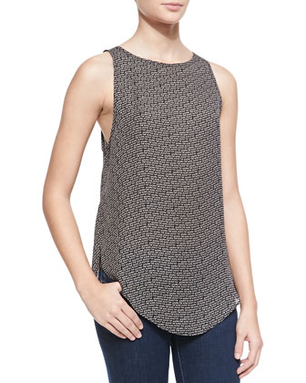 Sleeveless Cowl-Back Blouse