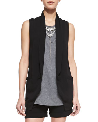 Back Lace-Inset One-Button Vest