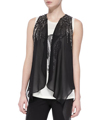 Silk Drapey Embellished Vest, Metallic Longhorn-Design Tank Top & Ponte/Leather Ankle-Zip Leggings