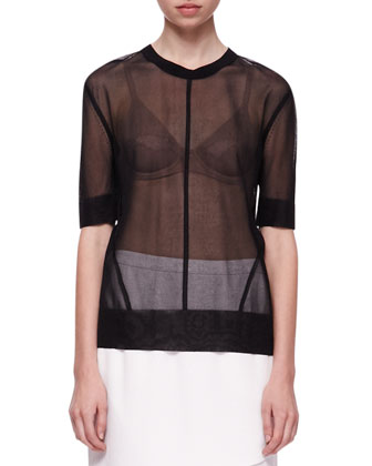 Elsa Sheer Short-Sleeve Top and Maryse Notched Crossover Skirt