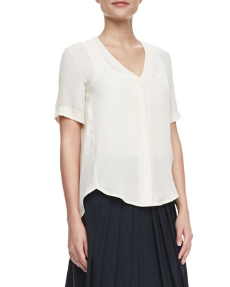 Napala Short-Sleeve Silk Blouse