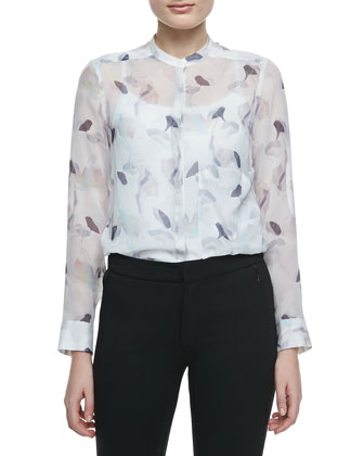 Brindan Sheer Printed Silk Blouse