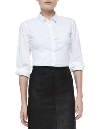 Jolyon Bracelet-Sleeve Button Top & Golda 2L Leather Pencil Skirt