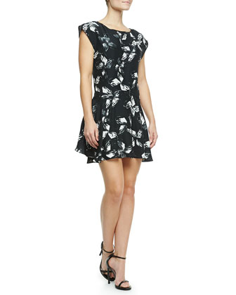 Cap-Sleeve Printed Dress