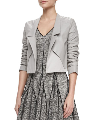 Cropped Leather Open Jacket & Cap-Sleeve Printed Dress