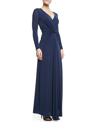 Long-Sleeve Jersey Gown with Twist Detail, Navy