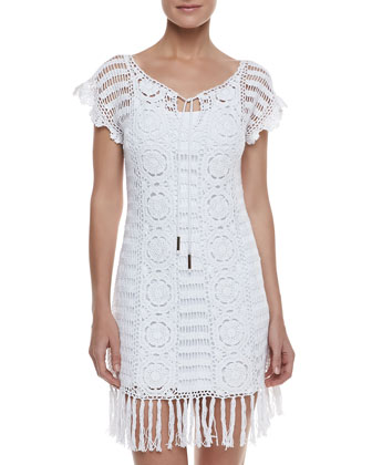 Banana Leaf Crochet Coverup,White