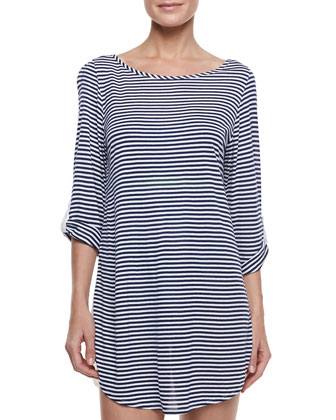 Malibu Striped Bracelet-Sleeve Coverup Tunic