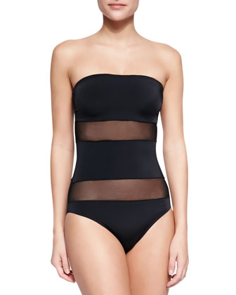 Mesh-Panel Strapless One-Piece Swimsuit