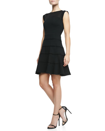 Lace-Inset Cap-Sleeve Dress