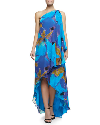 Floral-Print One-Shoulder Drape Gown