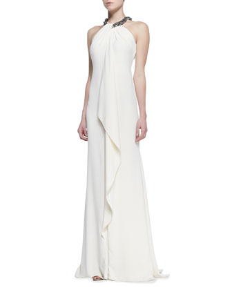 Beaded Halter Draped Metallic Gown, Eggshell